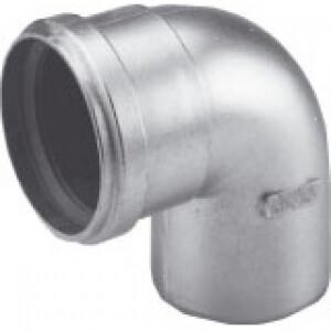 Burgerhout dikwandig Aluminium Rookgasbocht 90° 80mm mof x spie
